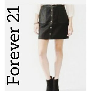 Forever21 Wool Leather Skirt